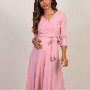 PinkBlush Maternity Maxi wrap dress - 3/4 sleeve